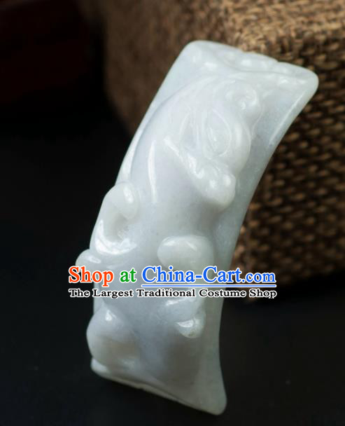 Chinese Traditional Jewelry Accessories Carving Jade Label Handmade Jadeite Pendant
