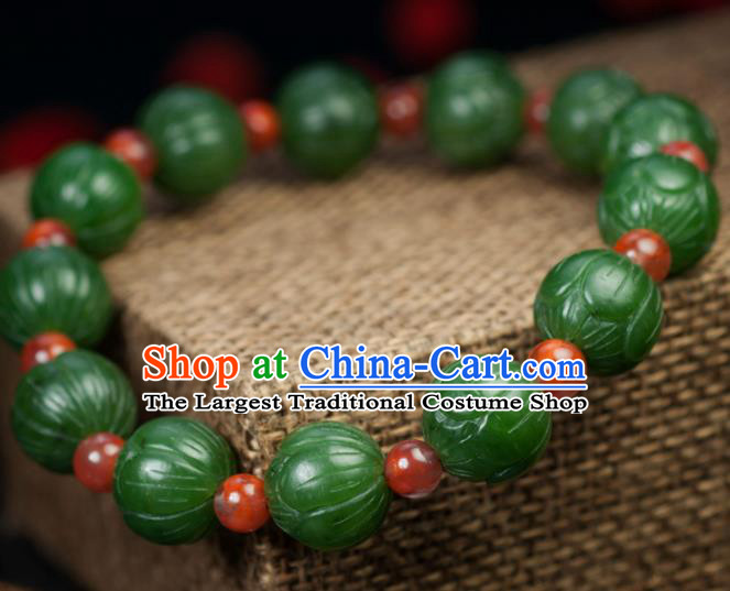 Chinese Traditional Accessories Ancient Handmade Carving Lotus Hetian Jade Bracelet for Women