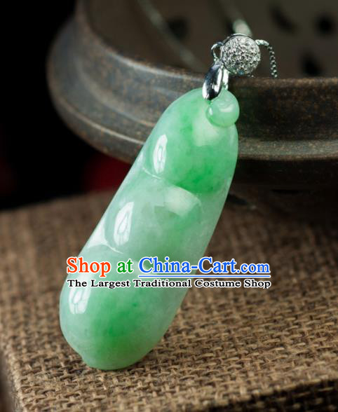 Chinese Traditional Jewelry Accessories Necklace Ancient Hanfu Jade Pea Pendant for Women