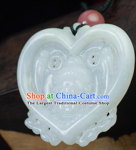 Chinese Traditional Jewelry Accessories Carving Jade Artware Handmade Jadeite Pendant