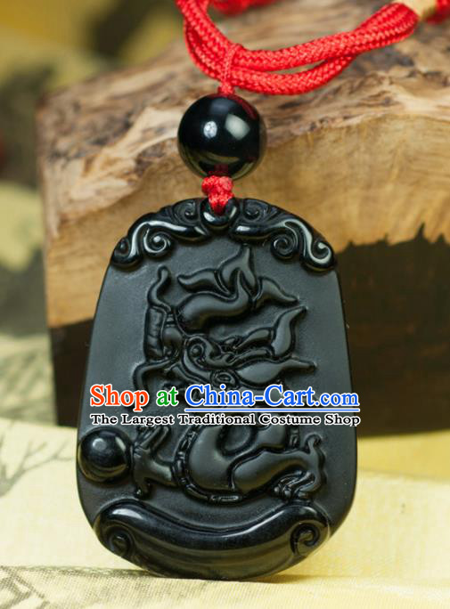Chinese Traditional Jewelry Accessories Carving Dragon Obsidian Artware Handmade Pendant