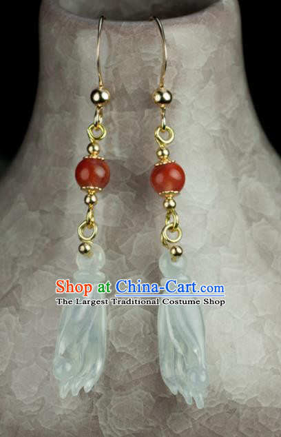Chinese Traditional Jewelry Accessories Ancient Hanfu Jadeite Finger Citron Earrings for Women