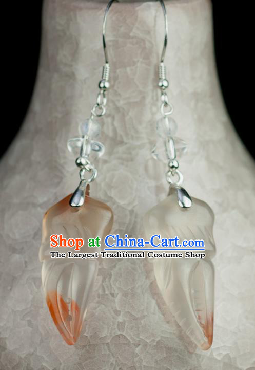 Chinese Traditional Jewelry Accessories Ancient Hanfu Jadeite Crab Claw Earrings for Women