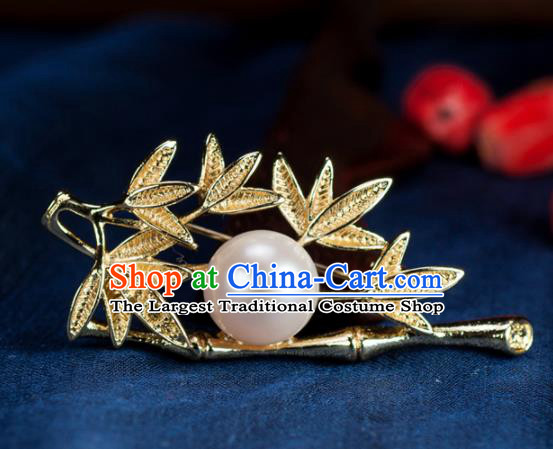 Chinese Traditional Jewelry Accessories Breastpin Ancient Hanfu Golden Bamboo Brooch for Women