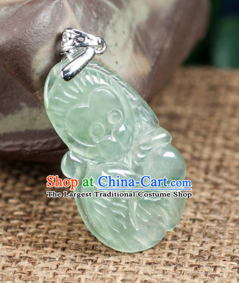 Chinese Traditional Jewelry Accessories Icy Zodiac Monkey Pendant Ancient Jadeite Necklace