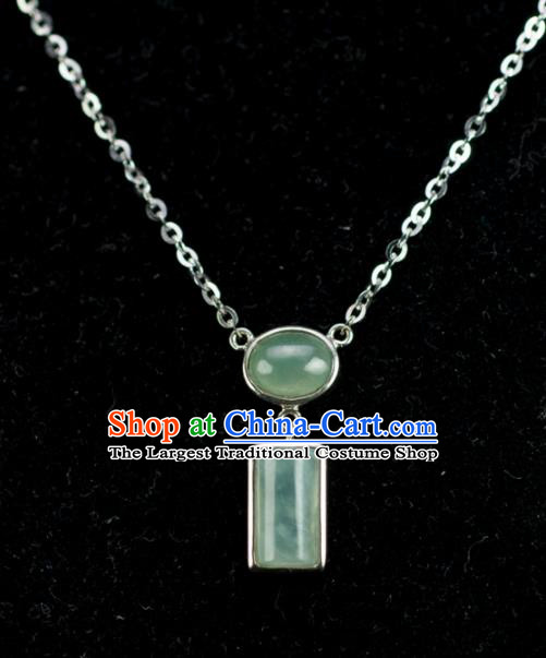 Chinese Traditional Jewelry Accessories Jade Pendant Ancient Handmade Jadeite Necklace
