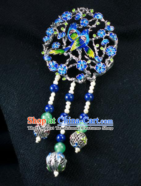 Chinese Traditional Jewelry Accessories Ancient Hanfu Blueing Plum Blossom Brooch for Women
