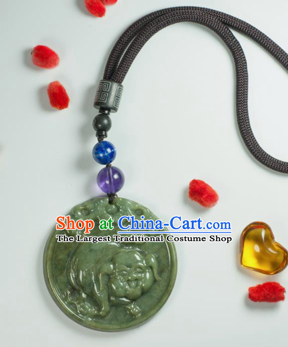 Chinese Traditional Jewelry Accessories Carving Pig Jade Necklace Handmade Jadeite Pendant