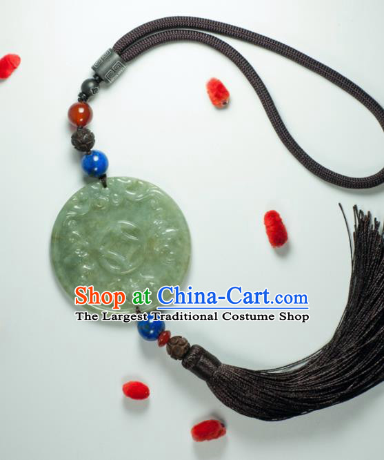 Chinese Traditional Jewelry Accessories Jade Waist Accessories Handmade Jadeite Pendant