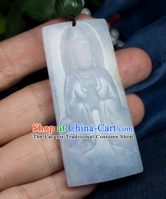 Chinese Traditional Jewelry Accessories Handmade Carving Jade Pendant Ancient Jadeite Avalokiteshvara Necklace