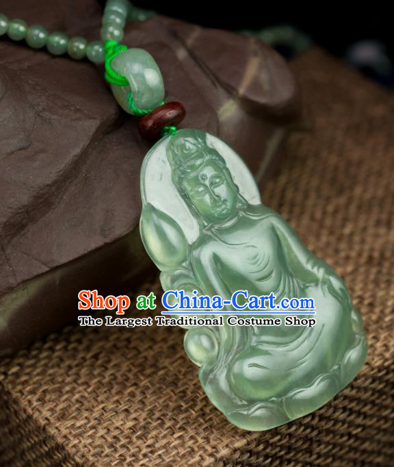 Chinese Traditional Jewelry Accessories Jade Pendant Ancient Handmade Carving Jadeite Avalokiteshvara Necklace