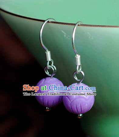 Chinese Traditional Jade Jewelry Accessories Ancient Hanfu Purple Micalex Carving Earrings for Women