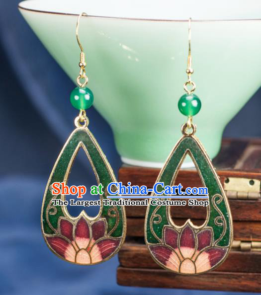 Chinese Traditional Jade Jewelry Accessories Ancient Hanfu Cloisonne Green Lotus Earrings for Women