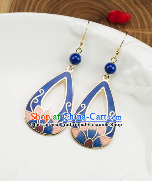 Chinese Traditional Jade Jewelry Accessories Ancient Hanfu Cloisonne Blue Lotus Earrings for Women