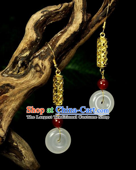 Chinese Traditional Jewelry Accessories Ancient Hanfu Cloisonne Jade Tassel Earrings for Women