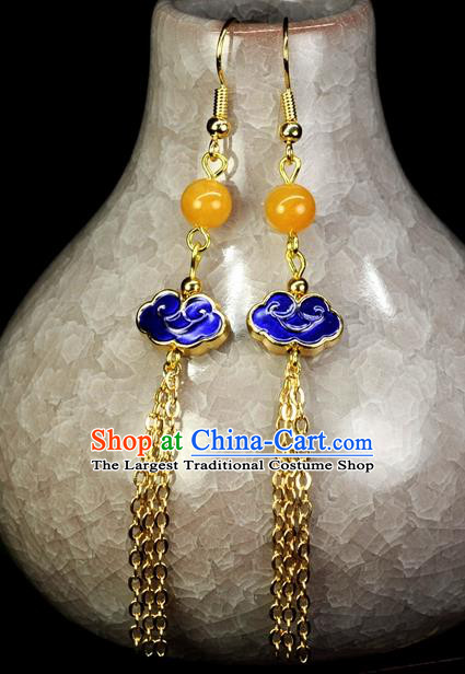 Chinese Traditional Jewelry Accessories Ancient Hanfu Cloisonne Cloisonne Cloud Tassel Earrings for Women