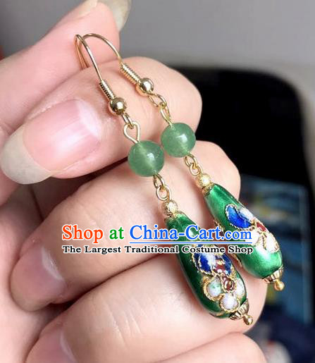 Chinese Traditional Jewelry Accessories Ancient Hanfu Cloisonne Green Earrings for Women