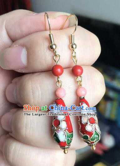 Chinese Traditional Jewelry Accessories Ancient Hanfu Cloisonne Red Earrings for Women