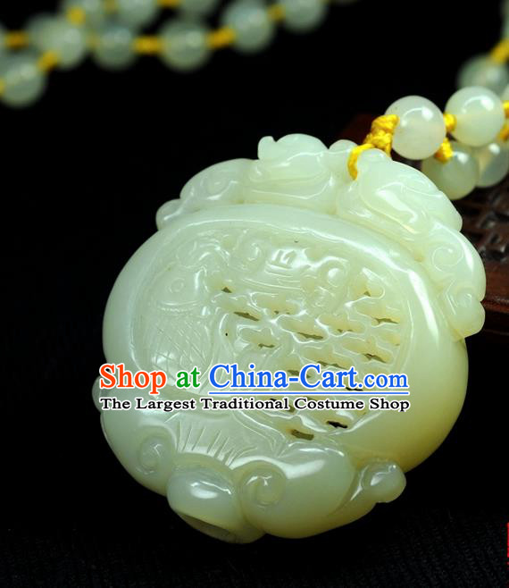 Chinese Traditional Jewelry Accessories Jade Sculpture Sachet Craft Handmade Jadeite Pendant