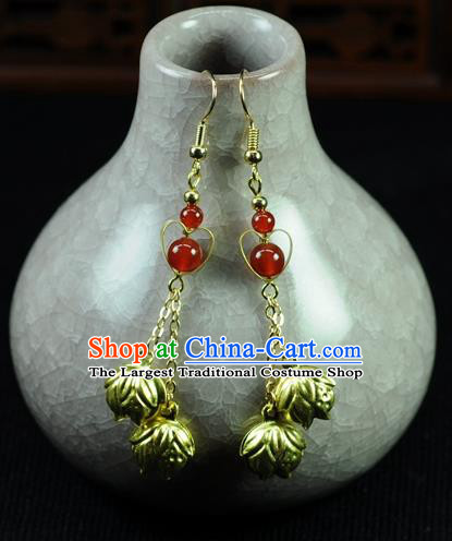 Chinese Traditional Jewelry Accessories Ancient Hanfu Golden Bells Tassel Earrings for Women