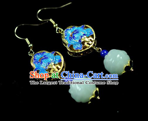 Chinese Traditional Jewelry Accessories Ancient Hanfu Blueing Lotus Jade Earrings for Women