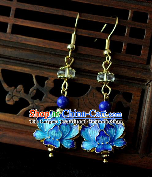 Chinese Traditional Jewelry Accessories Ancient Hanfu Blueing Lotus Earrings for Women