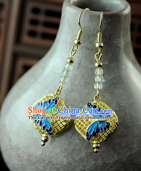 Chinese Traditional Jewelry Accessories Ancient Hanfu Blueing Butterfly Earrings for Women