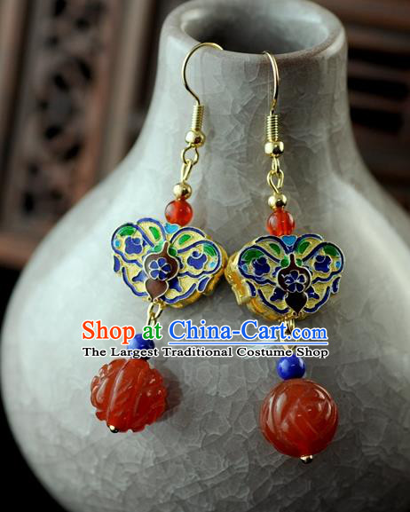 Chinese Traditional Jewelry Accessories Ancient Hanfu Blueing Butterfly Agate Earrings for Women