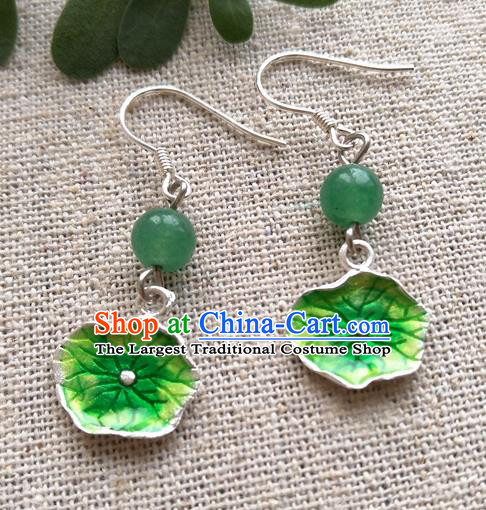 Chinese Traditional Blueing Lotus Leaf Jewelry Accessories Ancient Hanfu Earrings for Women