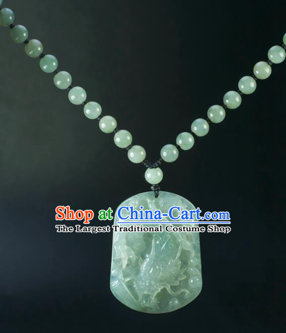 Chinese Traditional Jewelry Accessories Carving Jade Dragon Craft Handmade Jadeite Pendant