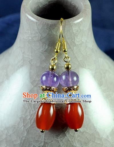 Chinese Traditional Jewelry Accessories Ancient Hanfu Red Agate Earrings for Women