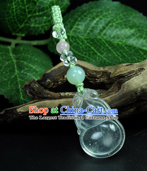 Chinese Traditional Jewelry Accessories Jade Cucurbit Craft Handmade Jadeite Pendant