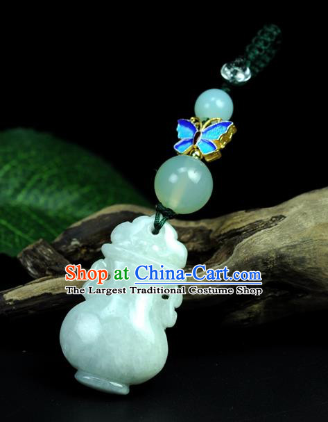 Chinese Traditional Jewelry Accessories Jade Sculpture Craft Handmade Jadeite Flagon Pendant