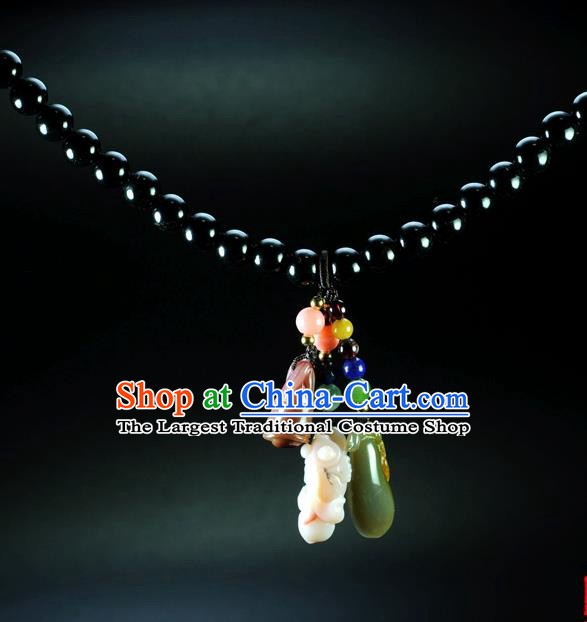 Chinese Traditional Jade Jewelry Accessories Ancient Hanfu Jadeite Necklace for Women