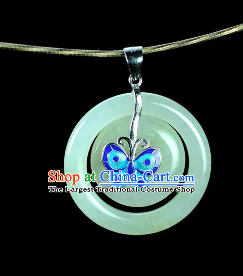 Chinese Traditional Jewelry Accessories Blueing Butterfly Jade Craft Handmade Jadeite Pendant