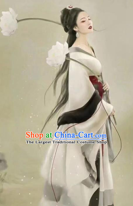 Chinese Ancient Peri Goddess Hanfu Dress Traditional Tang Dynasty Imperial Concubine Embroidered Costumes for Women