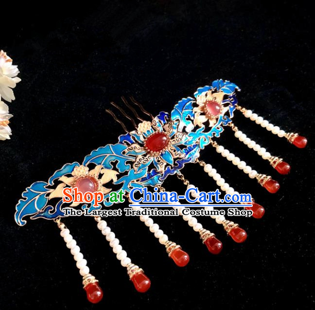 Chinese Classical Hair Accessories Traditional Ancient Hanfu Blueing Agate Tassel Hairpins for Women