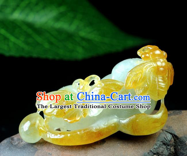 Chinese Traditional Jewelry Accessories Jade Sculpture Craft Handmade Yellow Jadeite Butterfly Pendant