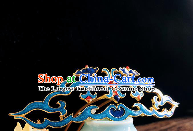 Chinese Classical Hair Accessories Traditional Ancient Hanfu Blueing Hair Comb Hairpins for Women