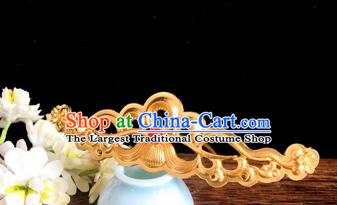 Chinese Classical Hair Accessories Traditional Ancient Hanfu Golden Hair Comb Hairpins for Women