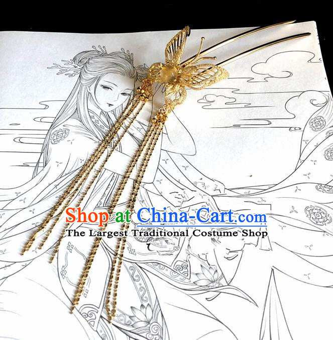 Chinese Classical Hair Accessories Traditional Ancient Hanfu Golden Butterfly Hair Clip Hairpins for Women