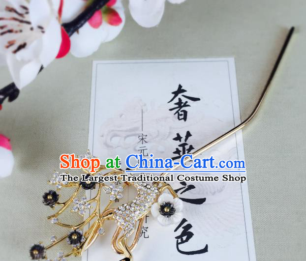 Chinese Classical Crystal Deer Hairpins Traditional Ancient Hair Clip for Women