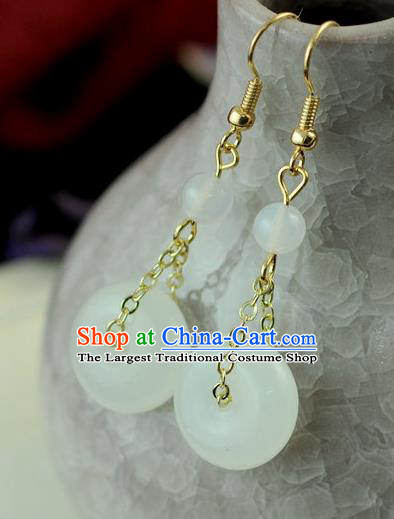 Chinese Traditional Jewelry Accessories Ancient Hanfu White Jade Earrings for Women