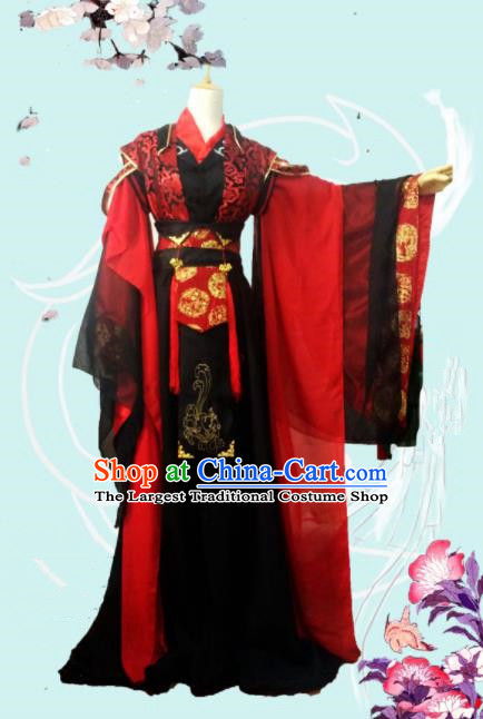 Chinese Traditional Cosplay Swordsman Costumes Ancient Royal Highness Embroidered Clothing for Men