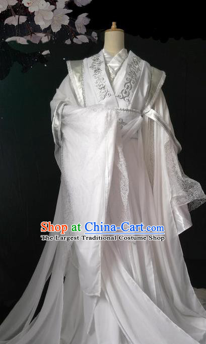 Chinese Traditional Cosplay Nobility Childe White Embroidered Costumes Ancient Swordsman Clothing for Men