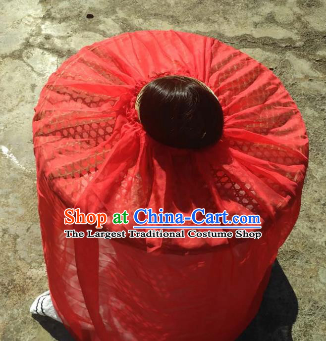 Chinese Traditional Handmade Craft Straw Hat Red Veil Bamboo Hat