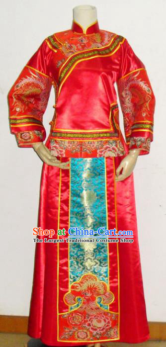 Chinese Traditional Red Xiuhe Suit Wedding Dresses Ancient Bride Embroidered Costumes for Women