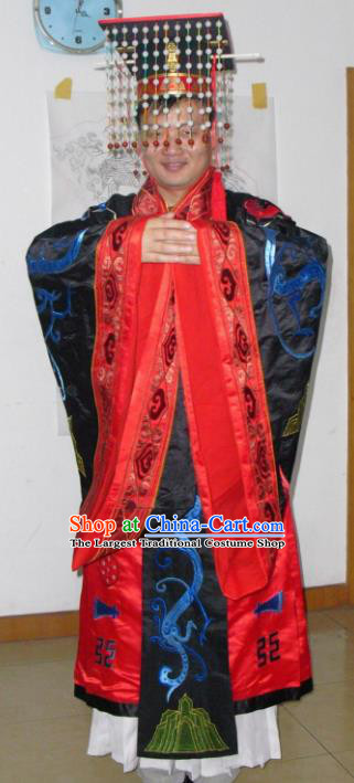Chinese Traditional Han Dynasty Emperor Embroidered Costume Ancient Majesty Clothing for Men