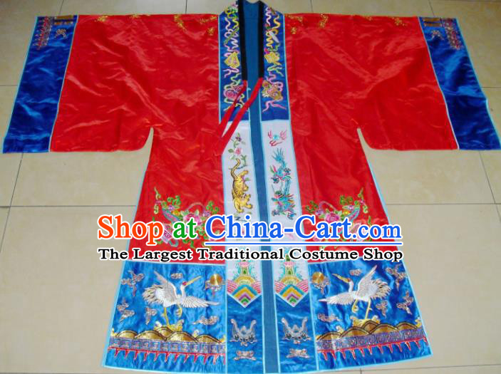 Chinese Traditional Priest Frock Costume Ancient Embroidered Red Robe for Men