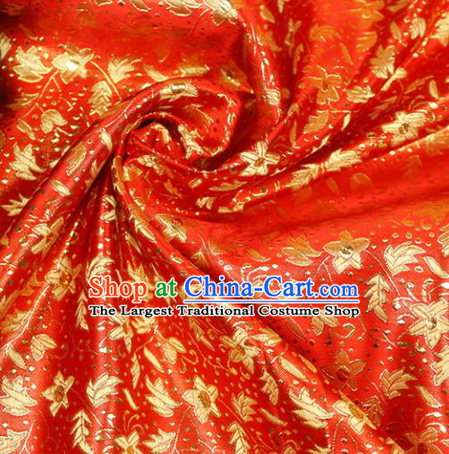 Chinese Traditional Red Brocade Tang Suit Silk Fabric Material Classical Pattern Design Satin Drapery